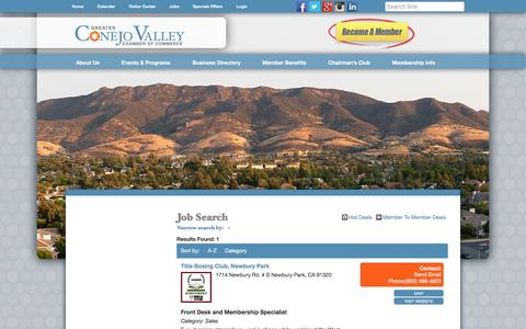 Screenshot of Jobs Page conejochamber.org - Job Search - Greater Conejo Valley Chamber of Commerce, CA - captured Nov. 13, 2016