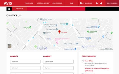 Screenshot of Contact Page avis.co.in - Contact Avis India | Head Office Address & Contact Details | Avis India - captured Nov. 27, 2018