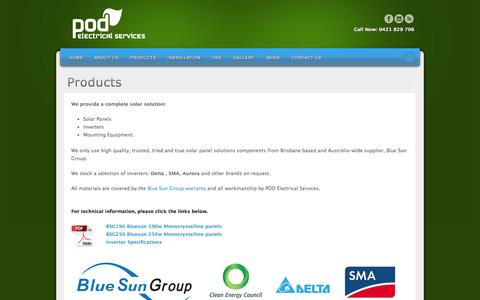 Screenshot of Products Page podelectrical.com.au - Solar Panels, Inverters & Mounting Equipment - captured Oct. 7, 2014