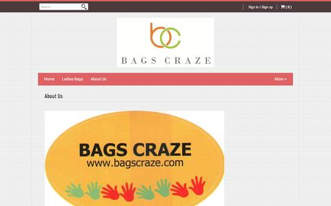 Screenshot of About Page bagscraze.com - About Us | www.bagscraze.com - captured May 22, 2017