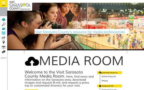 Screenshot of Press Page visitsarasota.org - Media Room   Visit Sarasota County - captured Oct. 28, 2015