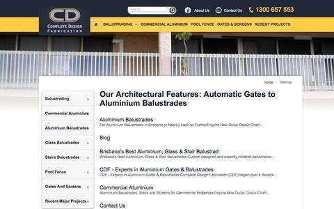 Screenshot of Site Map Page cdfabrication.com.au - Aluminium Balustrades to Automatic Gates | Sitemap - captured Nov. 10, 2016