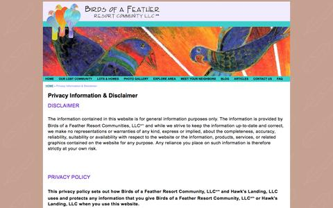 Screenshot of Privacy Page birdsofafeather.com - Birds of a Feather -  Privacy Information & Disclaimer - captured Feb. 7, 2016