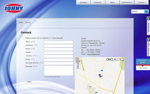 Screenshot of Contact Page johny.gr - Contact - captured Oct. 27, 2014