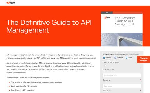 Screenshot of Landing Page apigee.com - The Definitive Guide to API Management - captured March 15, 2016