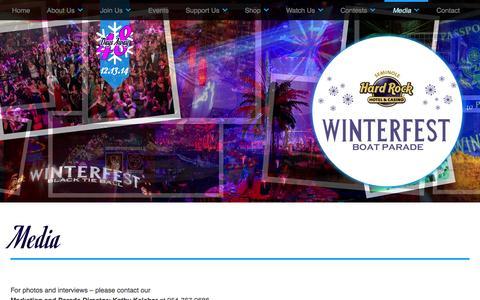 Screenshot of Press Page winterfestparade.com - Media   The Seminole Hard Rock Winterfest Boat Parade - captured Oct. 26, 2014