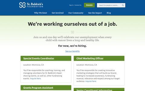 Screenshot of Jobs Page stbaldricks.org - St. Baldrick's Job Opportunities   Work for St. Baldrick's - captured Sept. 18, 2014