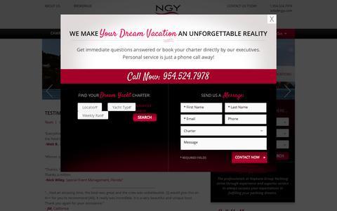 Screenshot of Testimonials Page ngyi.com - Testimonials - Neptune Group Yachting - captured Oct. 26, 2014
