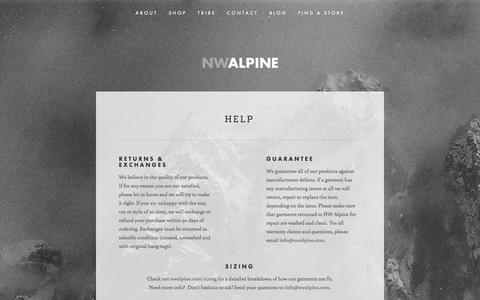 Screenshot of FAQ Page nwalpine.com - Help — NW ALPINE - MADE LOCALLY. LOVED GLOBALLY. - captured Oct. 7, 2014