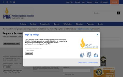 Screenshot of Login Page phassociation.org - Login - Pulmonary Hypertension Association - captured Sept. 19, 2017