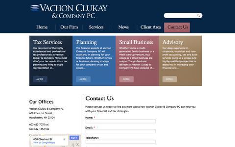 Screenshot of Contact Page vachonclukay.com - Contact Us | Vachon Clukay & Company PC - captured Oct. 9, 2014