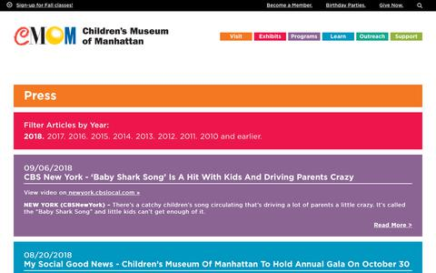 Screenshot of Press Page cmom.org - Press – Children's Museum of Manhattan - captured Sept. 23, 2018