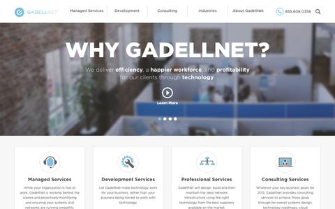 Screenshot of Home Page gadellnet.com - GadellNet | Outsourced IT St. Louis, Indianapolis, Madison, Milwaukee, Chicago - captured Jan. 12, 2016