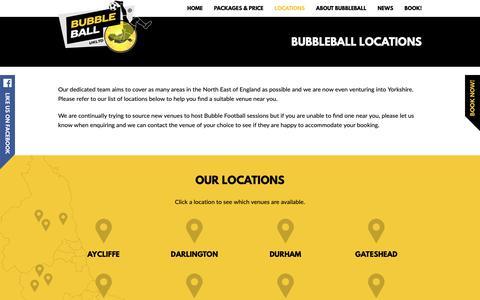 Screenshot of Locations Page bubbleballuk.com - Bubbleball UK | Bubbleball Locations - captured Oct. 7, 2018