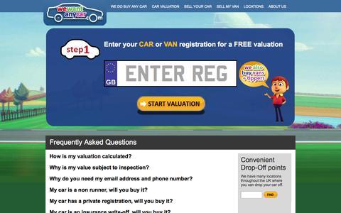 Screenshot of FAQ Page wewantanycar.com - Got Questions? - Read the WeWantAnyCar FAQs here - captured Oct. 26, 2014