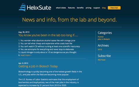Screenshot of Blog helixsuite.com - Blog « HelixSuite - captured Sept. 29, 2014