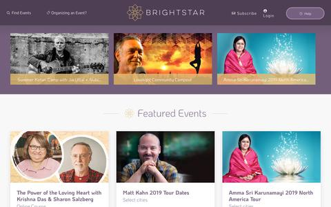 Screenshot of Home Page brightstarevents.net - BrightStar Live Events | Events to Uplift the Soul - captured May 24, 2019