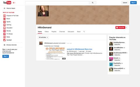 Screenshot of YouTube Page youtube.com - HRinDemand  - YouTube - captured Oct. 22, 2014