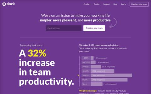 Screenshot of Home Page slack.com - Slack: Be less busy - captured Nov. 19, 2015