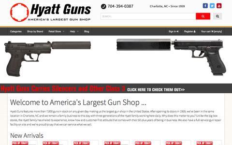 Screenshot of Home Page hyattgunstore.com - Hyatt Guns - captured Feb. 8, 2016
