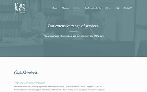 Screenshot of Services Page ardury.co.uk - Services | Dury & Co | An Extensive Range Of Financial Services - captured Sept. 28, 2018