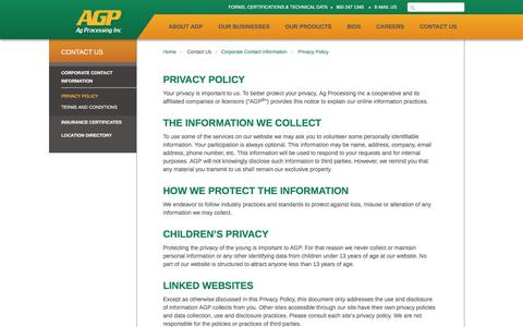 Screenshot of Privacy Page agp.com - AGP - Privacy Policy - captured Feb. 5, 2016