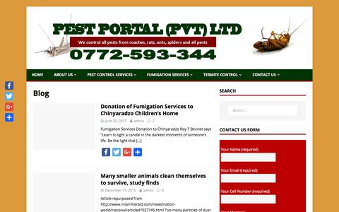 Screenshot of Blog pestportal.co.zw - Blog – Pest Control Services Company | Fumigation | Pest Extermination | Pest Elimination | Harare | Zimbabwe - captured Nov. 3, 2017