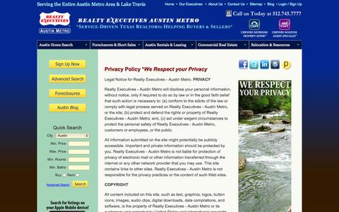 Screenshot of Privacy Page austindomicile.com - Privacy Policy for Realty Executives - Austin Metro | Austin Real Estate Listings - captured Oct. 7, 2014