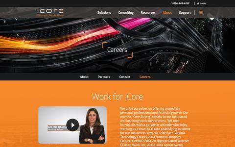 Screenshot of Jobs Page icore.com - Careers - iCore - captured Jan. 20, 2016