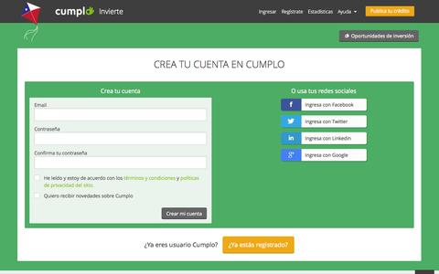 Screenshot of Signup Page cumplo.cl - Cumplo - captured Sept. 25, 2014