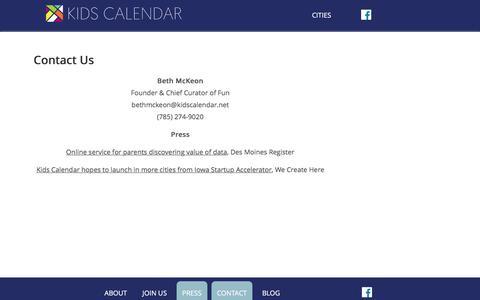 Screenshot of Contact Page Press Page kidscalendar.net - Contact Us | Kids Calendar - captured Jan. 9, 2016