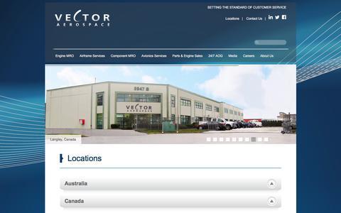 Screenshot of Locations Page vectoraerospace.com - Locations - Vector Aerospace - captured June 17, 2017