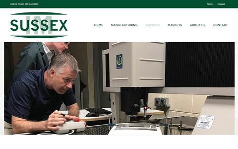 Screenshot of Services Page sussexim.com - Plastic Molding Services | Quality Plastics | Sussex IM - captured Sept. 21, 2018