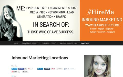 Screenshot of Locations Page wordpress.com - Inbound Marketing Locations | Blair Pettrey – Inbound Marketing Maryland – Digital Marketing Maryland - captured June 29, 2016