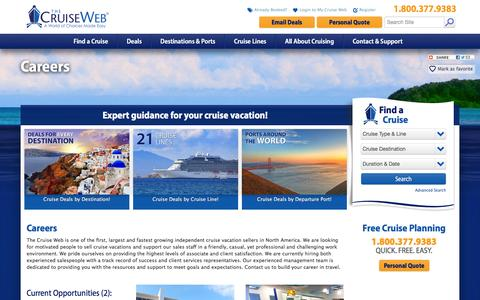Screenshot of Jobs Page cruiseweb.com - Careers at The Cruise Web: Employment Opportunities with The Cruise Web | The Cruise Web - captured Feb. 10, 2016
