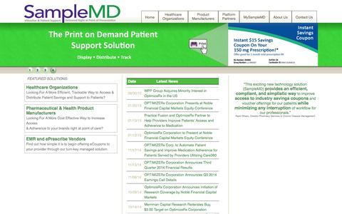 Screenshot of samplemd.com - SampleMD - Alternative Sampling & Support System - captured Feb. 4, 2016