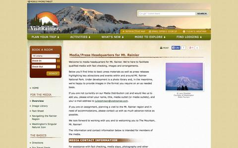 Screenshot of Press Page visitrainier.com - Media / Press Headquarters for Mt. Rainier - captured Oct. 26, 2014