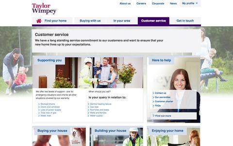 Screenshot of Support Page taylorwimpey.co.uk - Customer service |  Taylor Wimpey - captured Oct. 10, 2014