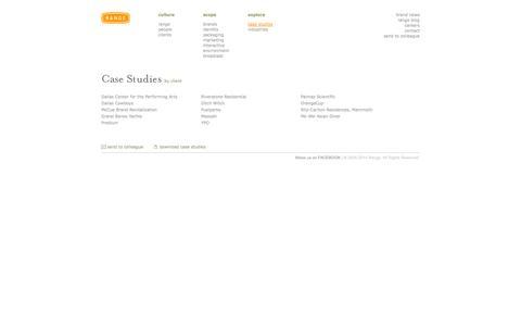 Screenshot of Case Studies Page rangeus.com - case studies :: Range, Inc. :: rangeUS.com :: design. human. experience. - captured Oct. 7, 2014