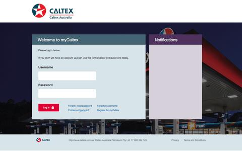 Screenshot of Login Page caltex.com.au - myCaltex - captured July 12, 2017