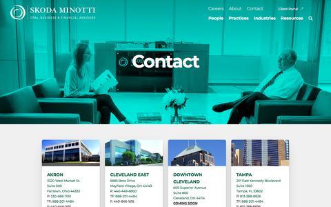 Screenshot of Contact Page skodaminotti.com - Contact   Our Locations   Skoda Minotti - captured Dec. 1, 2019
