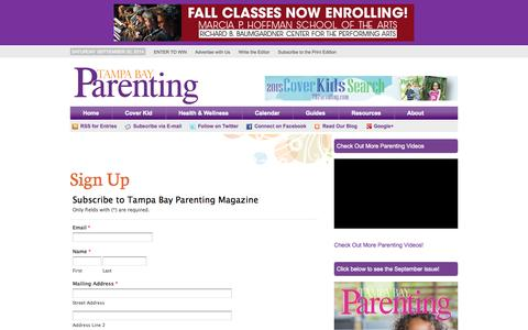 Screenshot of Signup Page tampabayparenting.com - Sign Up - Tampa Bay ParentingTampa Bay Parenting - captured Sept. 22, 2014