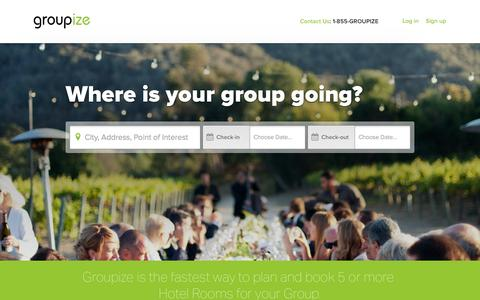 Screenshot of Home Page groupize.com - Groupize | Groups by Groupize - captured Sept. 16, 2014