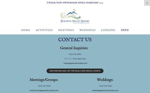 Screenshot of Contact Page peacefulvalley.com - CONTACT US — Peaceful Valley Resort and Conference Center - captured Oct. 28, 2016