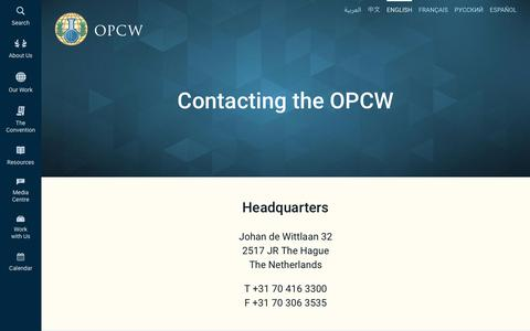 Screenshot of Contact Page opcw.org - Contacting the OPCW   OPCW - captured Nov. 7, 2018