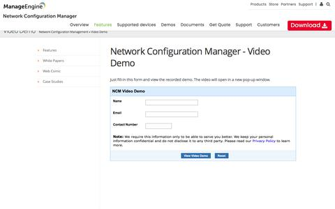 ManageEngine Network Configuration Manager - View Video Demo