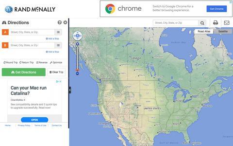 Screenshot of Maps & Directions Page randmcnally.com - Rand McNally Driving Directions and Maps - captured Oct. 4, 2019