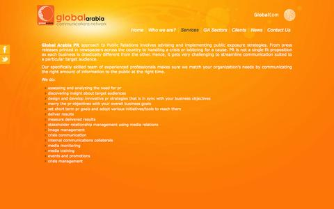 Screenshot of Services Page globalarabia.com - Services - captured Oct. 8, 2014