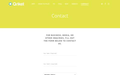 Screenshot of Contact Page qriket.com - Qriket - Contact | Qriket - captured Oct. 18, 2018