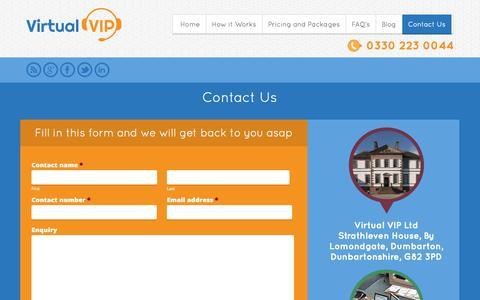 Screenshot of Contact Page virtualvip.co.uk - Contact Us   Virtual VIP - captured Oct. 26, 2014